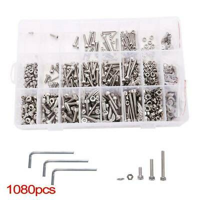 1080pcs M2 M3 M4  Screw Bolts & Nuts and Washer Set Hex Head Cap Stainless Steel