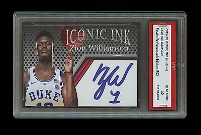 2019-20 Zion Williamson Iconic Ink Facs Auto 1St Graded 10 Rookie Card Pelicans