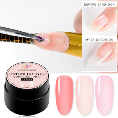 MEET ACROSS 8ml Clear UV Builder Nail Gel Polish Tips Quick Extension Manicure