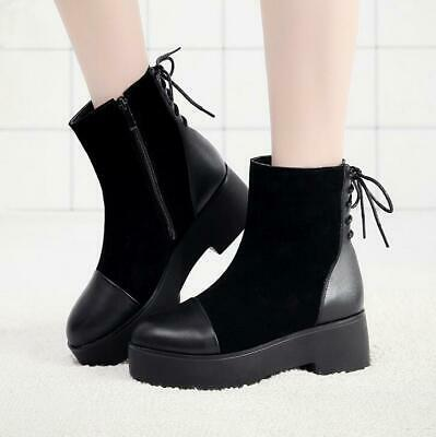 New Womens Platform Lace Up Shoes Fur/No Fur Retro Ankle Boots Motorcycle Biking