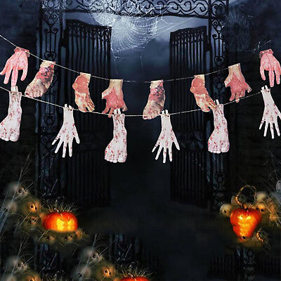 Halloween Horror Banners Bloody Scary Garland House Decoration Props Hands Feet
