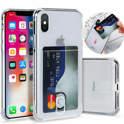 For iPhone 11 Pro Max XS XR 8 + Shockproof Silicone Card Slot Pocket Clear Case