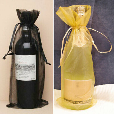 10pcs Organza Wine Bottle Gift Bags Drawstring Pouch Holiday Christmas Party