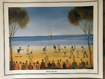 Stunning Pro Hart 'Beach Cricket' Limited Ed Signed And Numbered Lithograph.