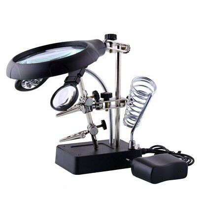 Dandelion 2.5X 7.5X 10X LED Light Magnifier /& Desk Lamp Helping Hand Repair Clamp Alligator Auxiliary Clip Stand Desktop Magnifying Glasses Gift