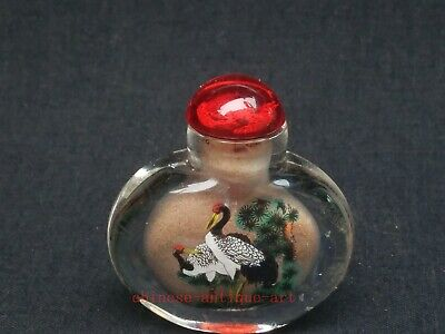Collection Old Chinese Glass Interior Painting red-crowned crane Snuff Bottle
