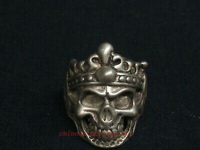 Antique Collection Chinese Tibet Silver Carvings Exorcism Skull Ring Decoration