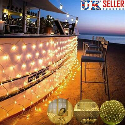 880LED String Fairy Lights Net Mesh Curtain Xmas Wedding Party Indoor Outdoor UK