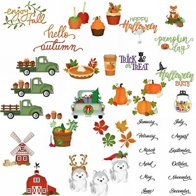 Autumn Fall Harvest Day Metal Cutting Dies Scrapbooking Craft Stencil Embossing