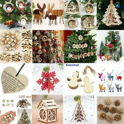 3D Christmas Tree Wooden Pendants Hanging DIY Cute Home Party Decors Props Toys