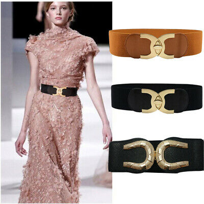 Lady Wide Fashion Belt Women Black Cinch Waist Belt Elastic Stretch AU Love Gift