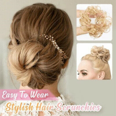 Large Thick Messy Bun Hair Scrunchie Updo Cover Curly Hair Extensions as Human