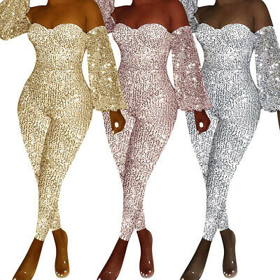 NEW Women's Stylish Off Shoulder Long Sleeve Shiny Sequins Club Bodycon Jumpsuit