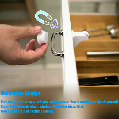 10PCS Magnetic Cabinet Locks Baby Safety Invisible Child Cupboard Drawer Pr J8Z9