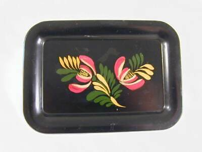 1951 Primitive Painted Tin Toleware Signed and Dated Small Tray Floral & Foliate
