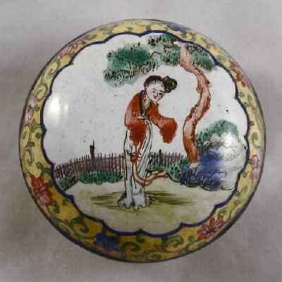 Antique Chinese Canton Enamel on Copper Round Trinket Box Young Woman in Garden
