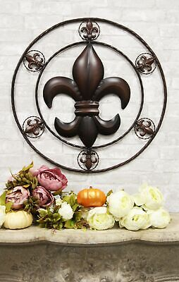 "Oversized 25""Wide Rustic Fleur De Lis Medallion Sign Metal Circle Wall Art Decor"