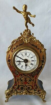 Miniature Boulle Clock Antique With Alarm French Pendulum Winders Red Shell Rare