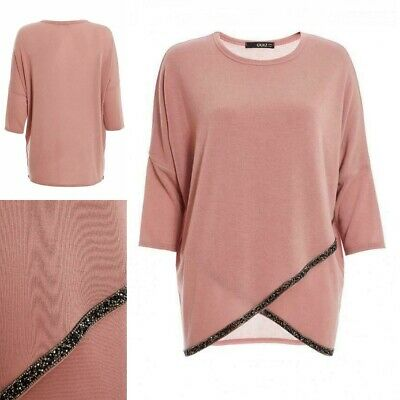New QUIZ Grey Knit Embellished Top Current Stock RRP £25 BNWT 8 10 12 14 16 18