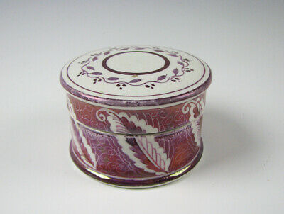Rare Antique Pink Luster Pomade or Ointment Jar 19th Century Staffordshire
