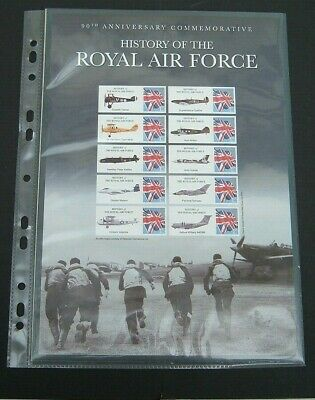 GB History of the Royal Air Force 90th Anniversary - 2005 Stamp Sheet 10x 1st