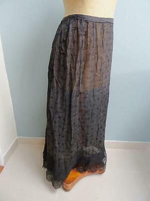 Antique Victorian Skirt Ladies Black Mourning Printed Edwardian Lace Frill c1900