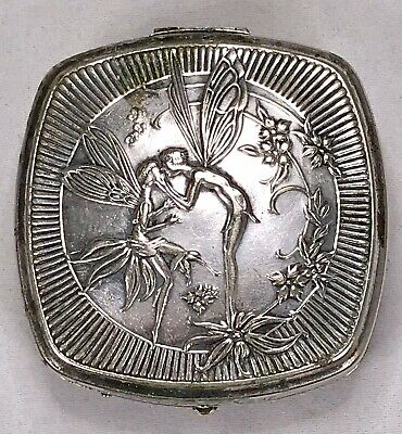 Vintage Art Deco France Djer Kiss Compact Kerkoff Kissing Fairies French Compact
