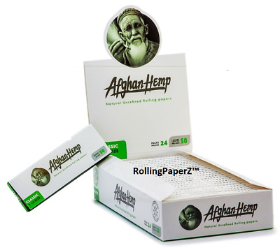 New! AFGHAN HEMP 1 1/4 Size Rolling Paper - FULL BOX - 24 PACKS - 50 LEAVES EACH