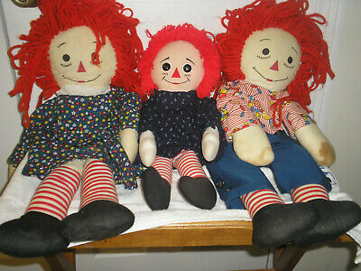 """3 Plush Raggedy Ann And Andy 24"""" Plus 18"""" Girl By Applause Old"""