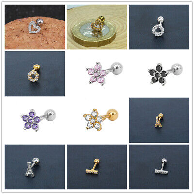 Cartilage Tragus Bar Barbell Stud Earing Piercing Helix CZ Gem Surgical Steel UK