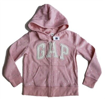 Girls GAP Kids Hoodie Jacket Top Stars Silver Zip Logo Hooded Sporty 8-9 12-13 y