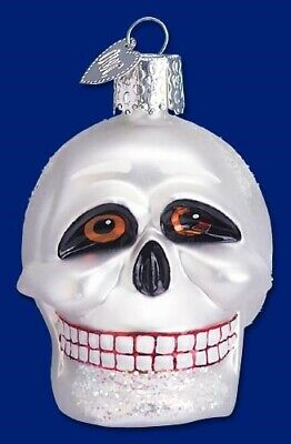Old World Christmas HALLOWEEN Skull Ornament Handblown GLASS Skeleton