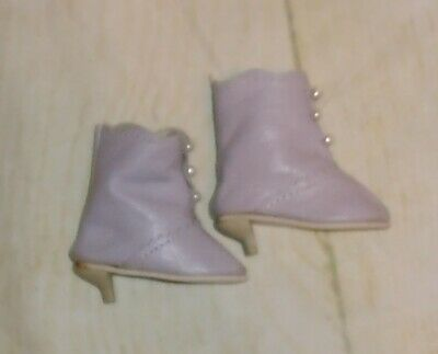 VINTAGE Antique style DOLL BOOTS lavender leather pearl buttons small heel