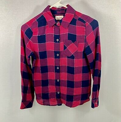 SO Girls Size 10 Pink/Navy Plaid Check Cotton Button Up Collar Shirt L/S