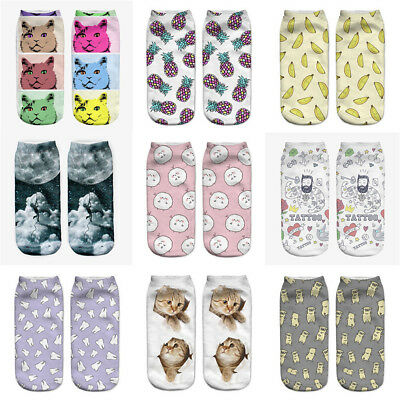 Animal Socks Cotton 3D Printed For Mens Women Animals Low Cut Ankle Socks