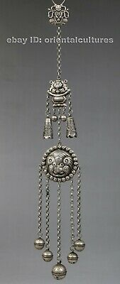 Vintage tribal ethnic chinese hand-carved miao silver costume's hanging ornament