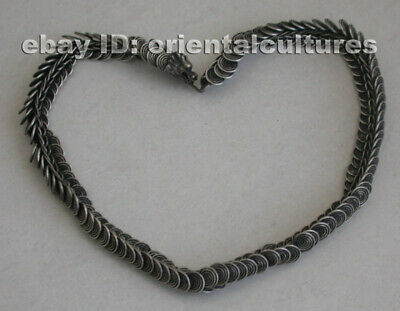 Vintage  Exotic Chinese Handmade Miao Silver dragon Necklace