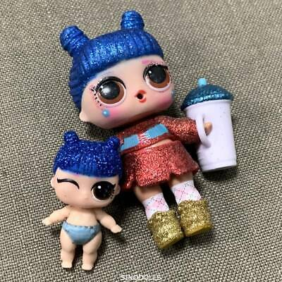 Lot 2Pcs LOL SURPRISE DOLL Glitter *KAWAII QUEEN Family & Lil Sister Real Toys