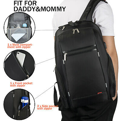Baby Diaper Bag Multi-functional Mummy Changing Nappy Bags Backpack Unisex Black