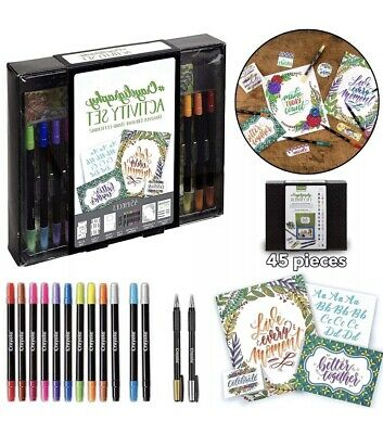 Crayola CALLIGRAPHY STATER KIT Hand Lettering Art Pages Instructions Gel Pens