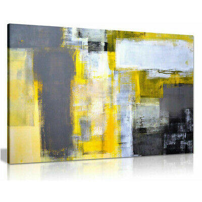 Canvas Painting Grey and Yellow Abstract Art Painting Wall Pictures Print Poster