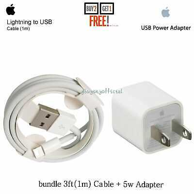 OEM Apple iPhone Wall Charger Cable3ft+Plug Original Genuine X Max Xr 8 Plus765c
