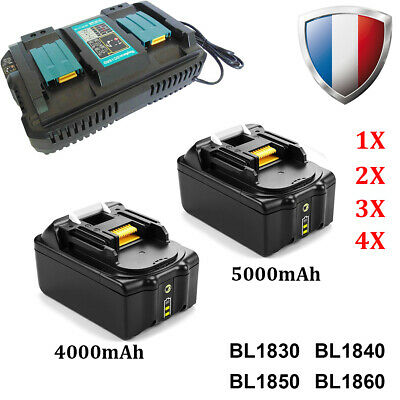 Batterie pour Makita BL1830 B BL1840B BL1850B 4Ah-5Ah 18V DC18RD DC18RC Chargeur