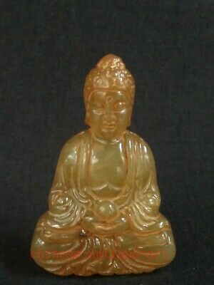 Antique Collection Chinese Jade Carving Buddha Statue Amulet Pendant Decoration