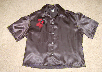 LADIES BLACK SATIN VINTAGE LOOK BLOUSE TOP 1950s ROCK N ROLL STYLE M 12-14 USED