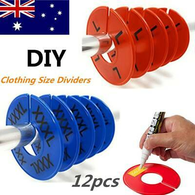 12X Plastic Clothing Rack Size Divider Round Hanger Closet Size Tag Marking Ring