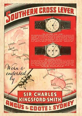 c.1930's ANGUS & COOTE KINGSFORD SMITH SOUTHERN CROSS WATCH ADVERTISING A3 PRINT