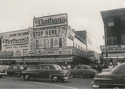 1956 Nathan's Hot Dog Coney Island Brooklyn New York City Modern issue post card