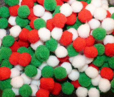 25/50 RED/ WHITE/GREEN POMPOMS EMBELLISHMENTS -- 20mm # CHRISTMAS CRAFT