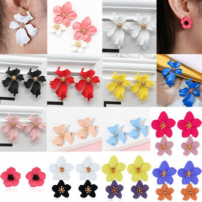 Exaggerated  Big Metal Flower Gold Silver Color Stud Earrings Fashion Jewelry